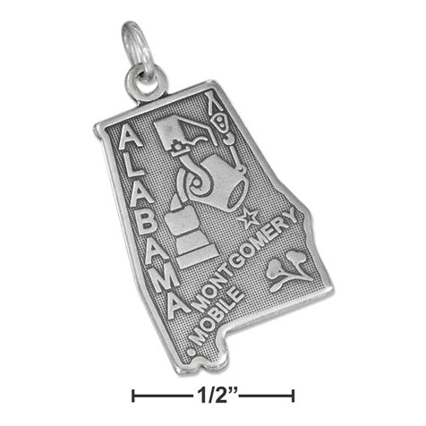 Alabama State Travel Sterling Silver Charm with Mobile and Montgomery