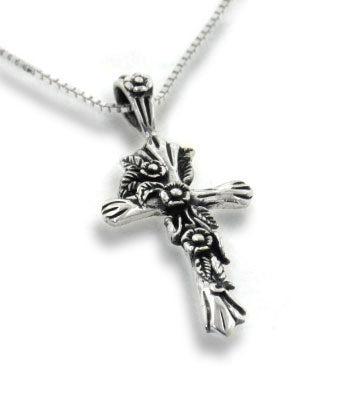 "Sterling Silver Rose Vine with Leaves Cross Pendant 16"" Chain Necklace - Silver Insanity"