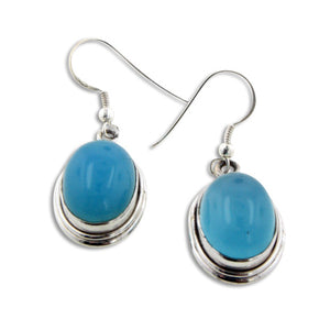 Genuine Oval Blue Chalcedony Stone Sterling Silver Hook Earrings 10gr - Silver Insanity