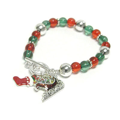 Green And Red Beaded Christmas Stretch Charm Bracelet - Silver Insanity