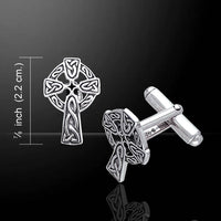 Celtic Knot Sun Cross Cufflinks Sterling Silver Cuff Links - Silver Insanity