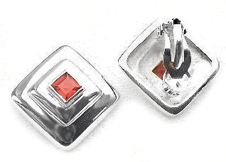 Sterling Silver 5mm Square Red Garnet Clip On Earrings