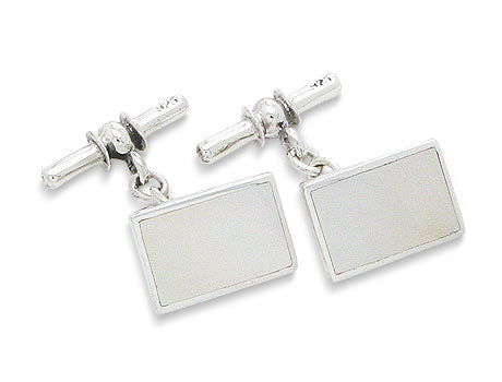 Sterling Silver Mother of Pearl Chain and Bar Cufflinks - Silver Insanity