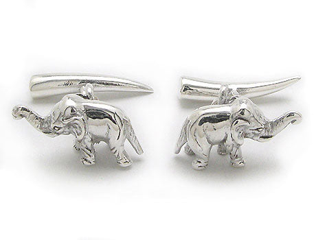 3D Sterling Silver African Elephant and Tusks Cufflinks - Silver Insanity