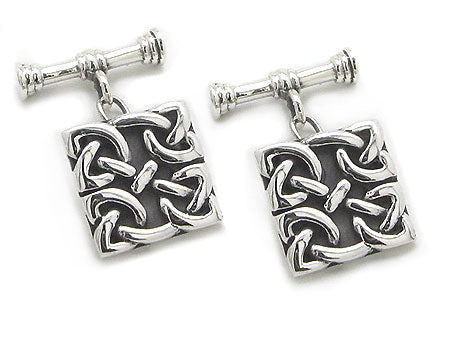 Square Celtic Knot Chain and Bar Cufflinks Sterling Silver Cuff Links
