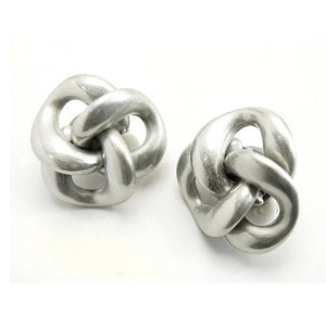 80's Matte Finish Knots Clip-On Earrings Extra Large and Lightweight - Silver Insanity