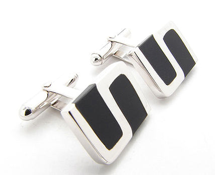Rhodium Plated Sterling Silver Cufflinks with Black Onyx Inlay S Design - Silver Insanity
