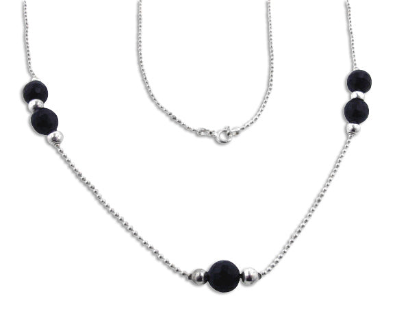 Faceted Black Onyx and Sterling Silver 42