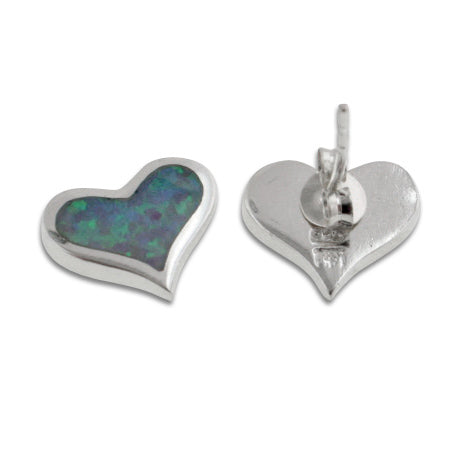 Sterling Silver Inlaid Simulated Blue Opal Heart Studs Earrings - Silver Insanity