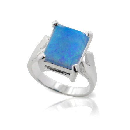 Large Emerald-Cut Created Rectangular Blue Opal Sterling Silver Ring