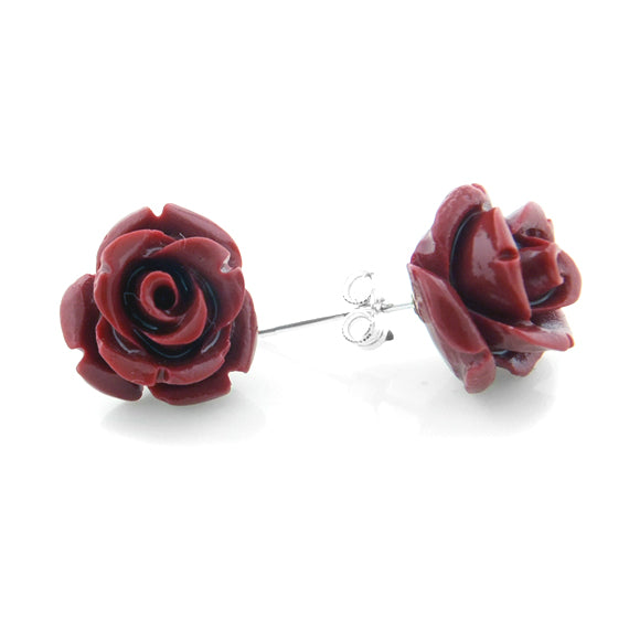Red Rose of Beauty Sterling Silver Post Stud Earrings