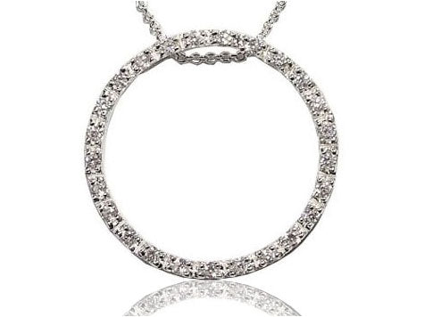 Rhodium Sterling Silver Circle of Life Pendant Necklace