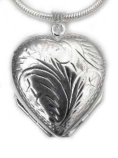 Sterling Silver 4 Four Panel Heart Locket Photo Pendant - Silver Insanity