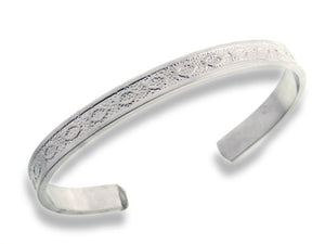 "Christian Fish Embossed Silver-Plated Solid Copper Adjustable 8"" Cuff Bracelet - Silver Insanity"
