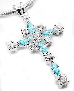 Sterling Silver White and Teal Blue Crystal Cross Pendant - Silver Insanity