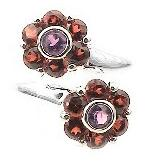 Sterling Silver AMETHYST and GARNET Flower Ring - Silver Insanity