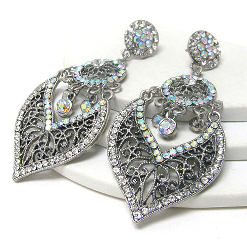 Large Antique Style Filigree Dangle Post Earrings - Silver Insanity
