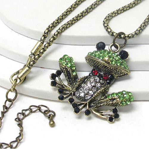 Fancy Frog Green and Gold Crystal Adjustable Necklace - Silver Insanity