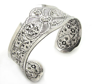 Wide Flower Design Embossed Sterling Silver Cuff Bracelet - Silver Insanity