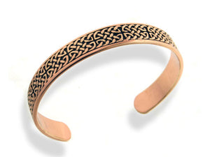 "Mens Heavy Solid Copper Celtic Knot 8"" Cuff Bracelet - Silver Insanity"