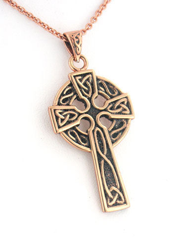 "Medium Celtic Knot Sun Cross Solid Copper Pendant and 20"" Necklace"