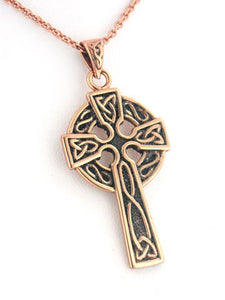 "Medium Celtic Knot Sun Cross Solid Copper Pendant and 20"" Necklace - Silver Insanity"