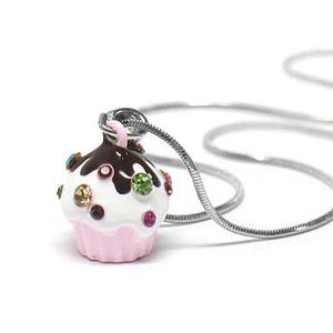 "My Little Cupcake Pink Childs Pendant 16"" Snake Necklace - Silver Insanity"
