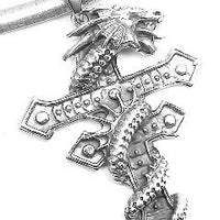 "Large Heavy 2.5"" Sterling Silver Gothic Dragon Wrapped Two-Barred Cross Pendant - Silver Insanity"