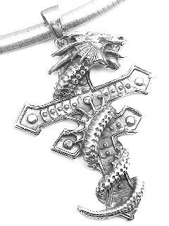 "Large Heavy 2.5"" Sterling Silver Gothic Dragon Wrapped Two-Barred Cross Pendant"