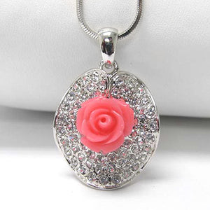 "Precious Pink Rose with White Crystals Pendant 15"" Snake Chain Necklace - Silver Insanity"