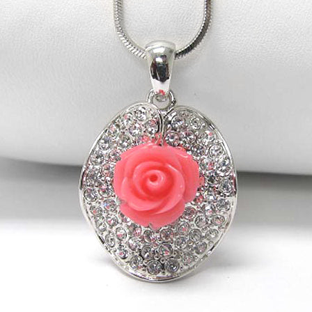 Precious Pink Rose with White Crystals Pendant 15