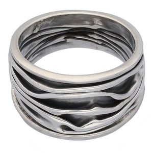 Wrinkled Unique Crushed Can Wide Armor Band Sterling Silver Ring - Silver Insanity