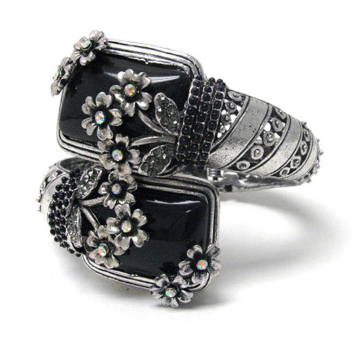Art Deco Black with Crystal Flowers Bypass Hinged Bangle Bracelet 7