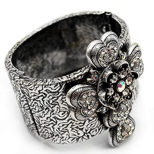 AB Crystal Heart Cross Silver-Tone Hinged Bangle Bracelet - Silver Insanity