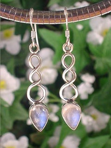 Twisted Weave and Rainbow Moonstone Sterling Silver Hook Earrings - Silver Insanity