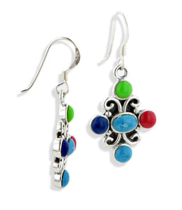 Southwestern Multi Stone Sterling Silver Hook Earrings - Silver Insanity