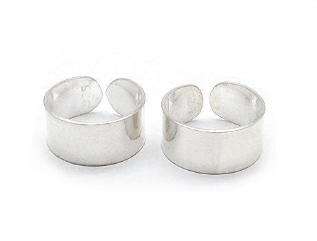 Sterling Silver Plain High Polish Huggie Ear Cuff Pair Earrings