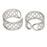 Sterling Silver Coiled Wirework Ear Cuff Pair Earrings - Silver Insanity