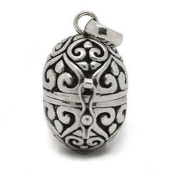 Filigree Egg Sterling Silver Poison Locket Prayer Box Pendant - Silver Insanity