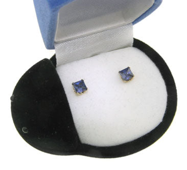 Simulated Tanzanite 10K Yellow Gold Stud Earrings Boxed