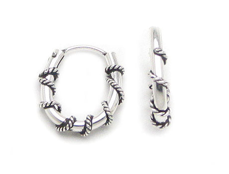 Tiny Oblong Roped Hoops Wrapped Sterling Silver Huggie Hoop Earrings - Silver Insanity