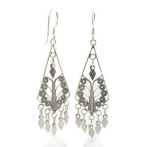 Sterling Silver Ornate Gypsy Dangling Arrowheads Drop Earrings - Silver Insanity