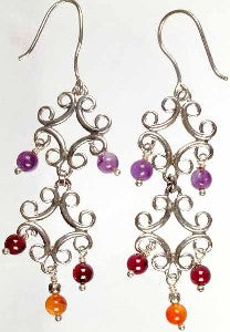 Sterling Silver VICTORIAN Dangle Bead Hook Earrings - Silver Insanity