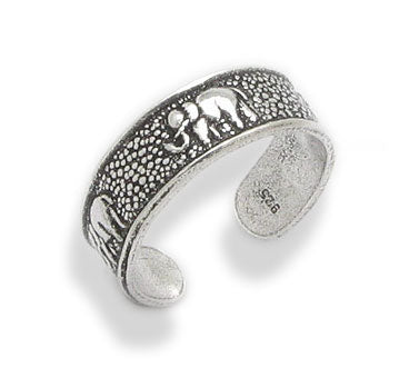 Elephant Sterling Silver Marching Elephants Toe Ring