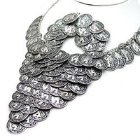 "Cascading Antiqued French Coin Silver-Tone 17"" Necklace and Hook Earrings Set - Silver Insanity"