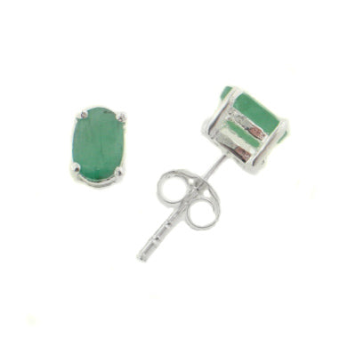 4x6mm Oval Genuine Green Emerald Sterling Silver Post Stud Earrings - Silver Insanity