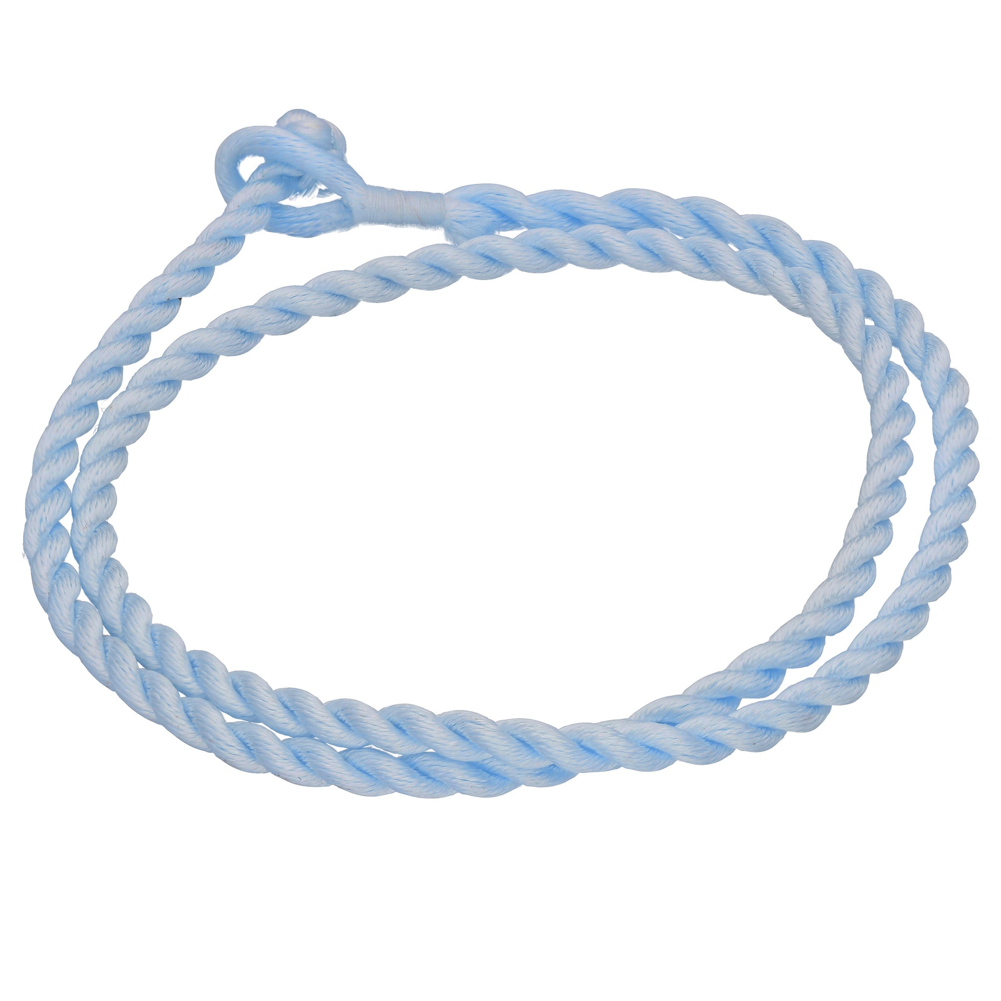 "Sky Blue Synthetic Faux Silk Rope Cord 17"" Necklace - Silver Insanity"