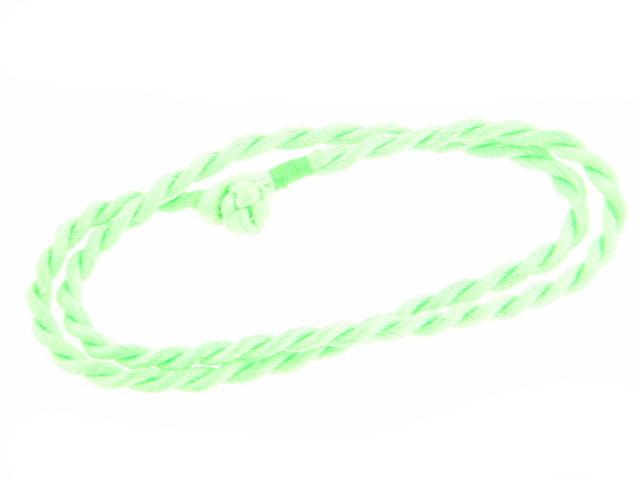 "Bright Neon Lime Green Faux Silk Rope Cord 17"" Necklace - Silver Insanity"