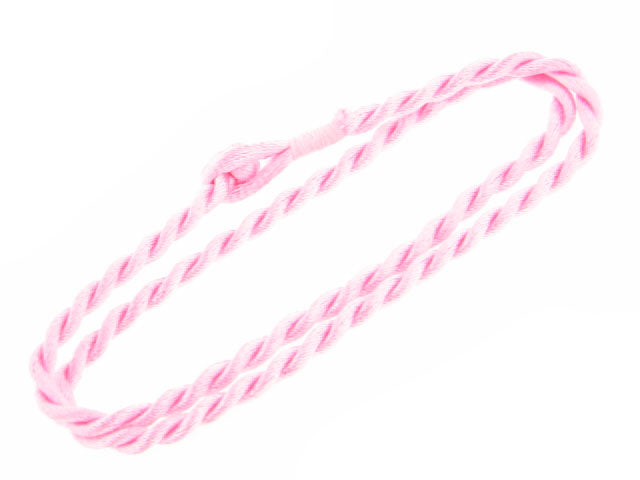 "Bright Pink Synthetic Faux Silk Rope Cord 17"" Necklace"
