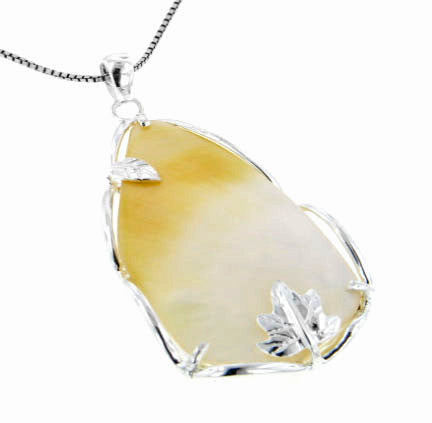 Large Natural Mother of Pearl Shell Teardrop Leaf Sterling Silver Pendant - Silver Insanity